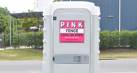 Portable Toilet Hire - Pink Fence